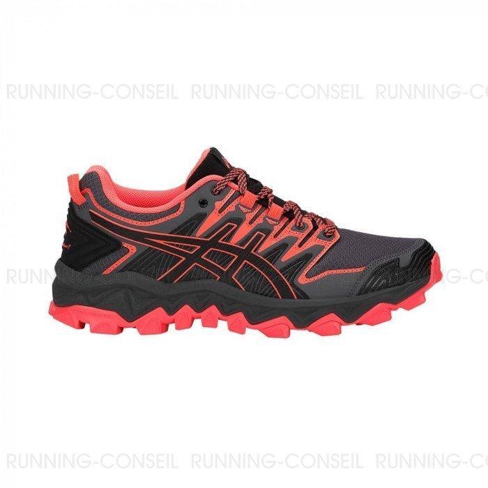 Chaussures Asics GEL-FujiTrabuco 7 Femme BLACK/FLASH CORAL